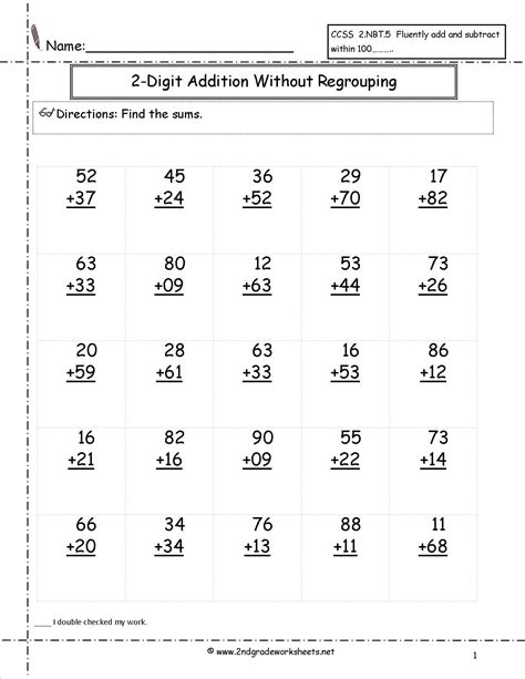 Free Addition Printable Worksheets  Two Digit Addition With No Regrouping Worksheet School