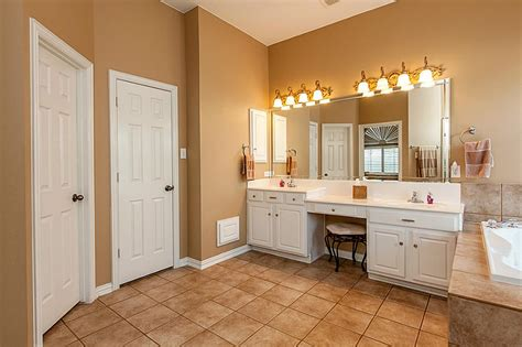 double bathroom vanity with makeup area how to light a