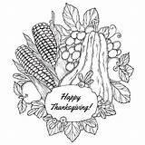 Thanksgiving Coloring Adult Adults Pages Happy Fruits Printable Turkey Corn Harvest October Books Sheets Vegetables Fall Fruit Simple Sheet Berries sketch template