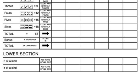 yahtzee template learning printable