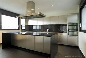 stainless steel kitchen cabinets with black granite With contemporary kitchen ideas with stainless steel kitchen island