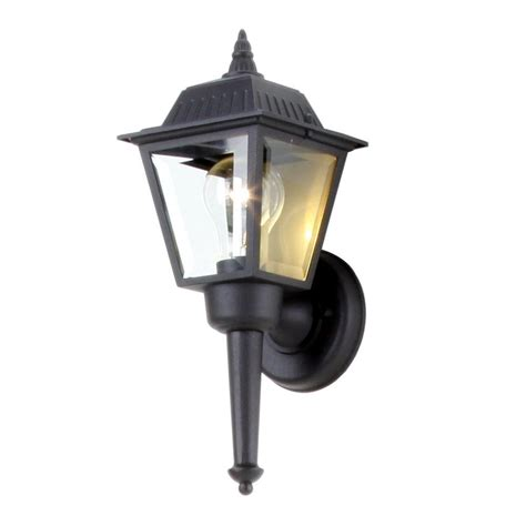 Backyard Lighting Home Depot by Hton Bay 1 Light Black Outdoor Wall Lantern Bpl1611 Blk