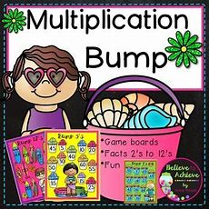 """Multiplication Bump Games 2's To 12's (summer Themed)  Tpt Store """"believe To Achieve By Anne"""
