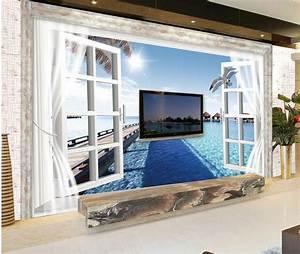 Toile De Rénovation Mur : papel de parede hd 3d mode fen tre le murale pour tv mur de toile de fond 3d murale int rieur ~ Melissatoandfro.com Idées de Décoration
