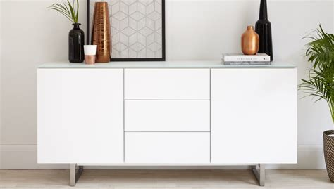 White Glass Sideboard by Modern White And Glass Sideboard With Storage Uk Delivery