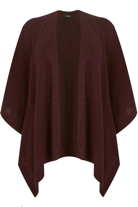 div text color burgundy knitted wrap plus size 16 to 32