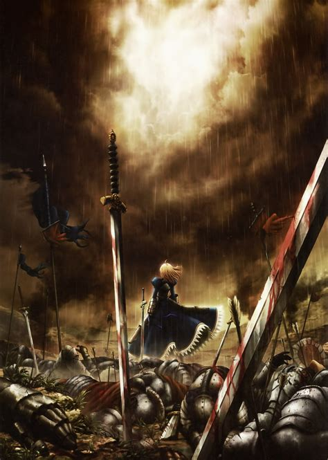 blood saber fatezero anime girls swords fate series