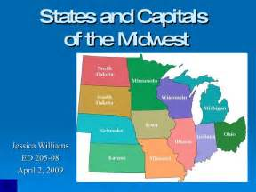 Midwest Region States and Capitals Map