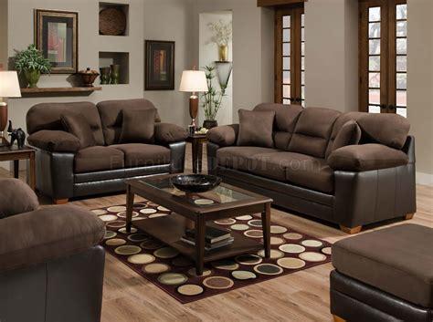 Brown Godiva Microfiber Sofa & Loveseat Set w/Accent Pillows