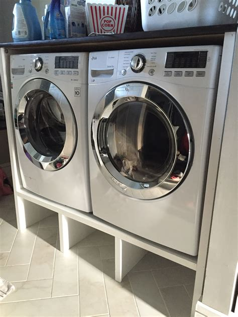 Contemporary Washer And Dryer Pedestal Cabinet With