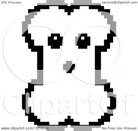 bit clipart black and white clipart of a black and white surprised bone character in 8