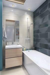 Petite salle de bains avec wc 55 idees de meubles et deco for Petit carrelage salle de bain