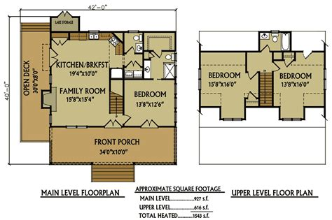 cottage floor plan small 3 bedroom lake cabin with open and screened porch