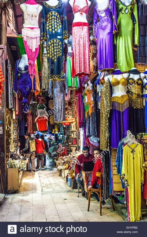Colourful clothing in the Khan el-Khalili souk in Cairo ...
