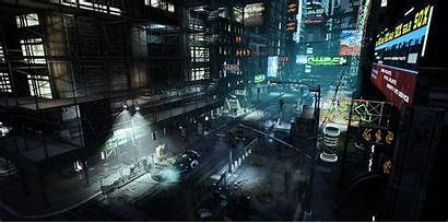 Cyberpunk Street Environment Let Think Know Working