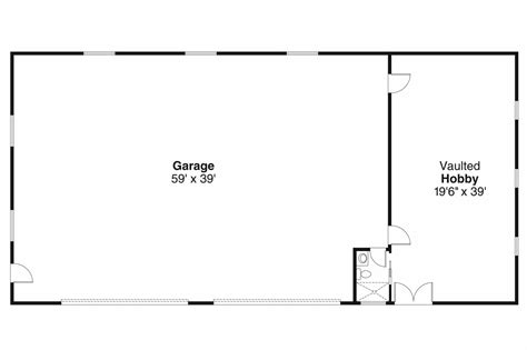 garage floor plan traditional house plans garage w hobby 20 037
