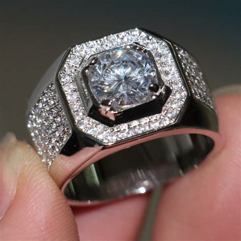 choucong brand solitaire jewelry ring 3ct aaaaa zircon cz 10kt white gold filled