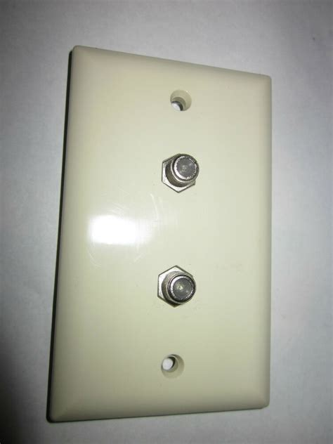 Tv Plate Lot Of 3 Dual Tv Cable Wall Plate White Nos Ebay
