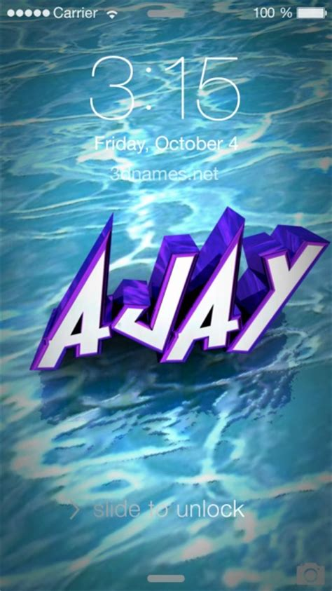 Ajay 3d Name Wallpapers Animations - preview of water for name ajay