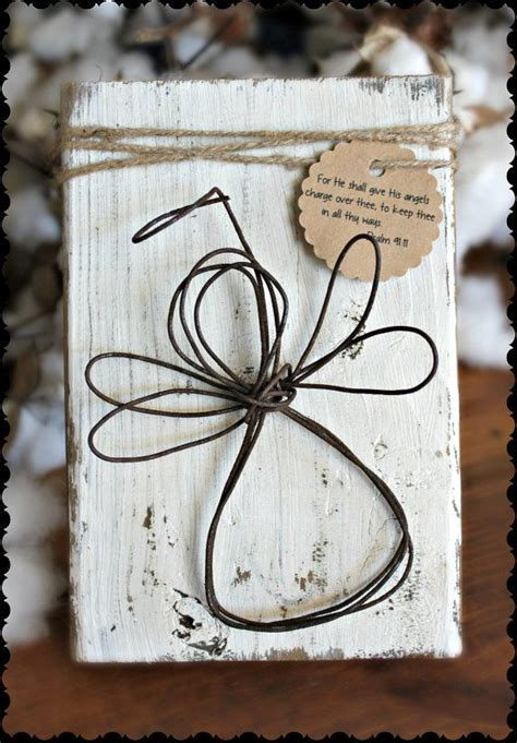 Rustic Wire Angel Guardian White Distressed