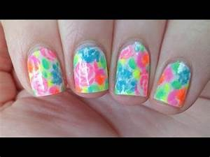 Floral Neon Watercolor Nails