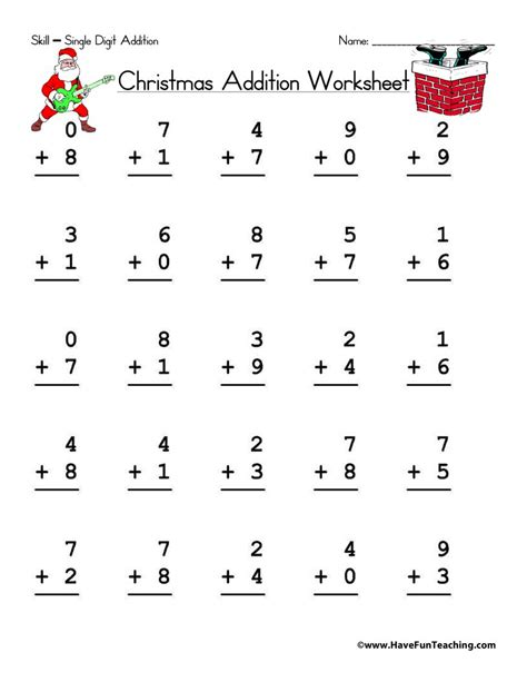 christmas single digit addition worksheet have fun teaching