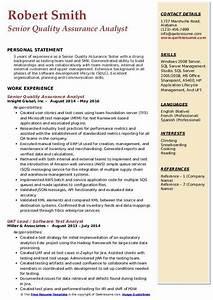 resume format for software tester senior quality assurance analyst resume samples qwikresume