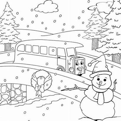 Winter Coloring Pages Printable Scene