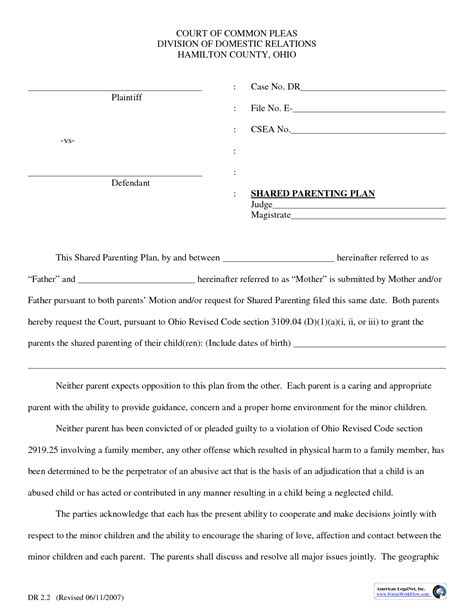 Shared Parenting Plan Template Parenting Plan Template Doliquid