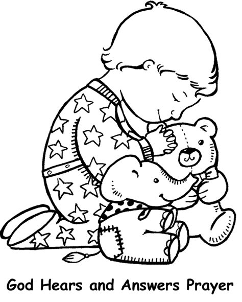 HD wallpapers coloring page of boy and girl praying