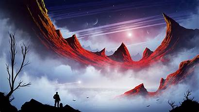 Fantasy Landscape Silhouette Fi Sci Mountains Wallpapers