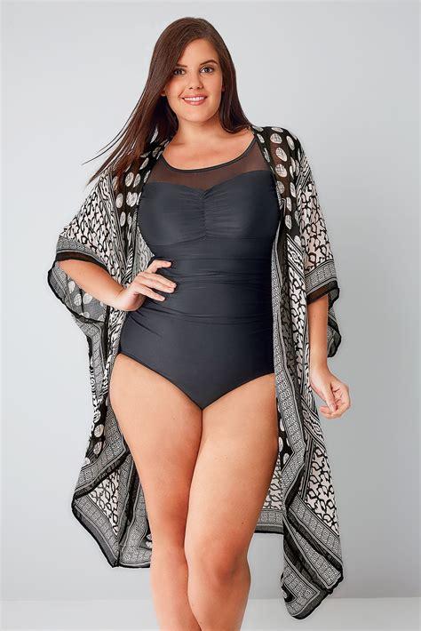 black mesh panel swimsuit  tummy control  size
