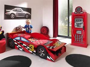 Lit Enfant Voiture : lit enfant voiture coloris rouge bolid lit chevet enfant lit chevet soldes chambre ~ Preciouscoupons.com Idées de Décoration