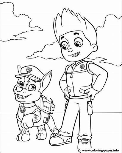 Chase Patrol Coloring Ryder Paw Pages Printable