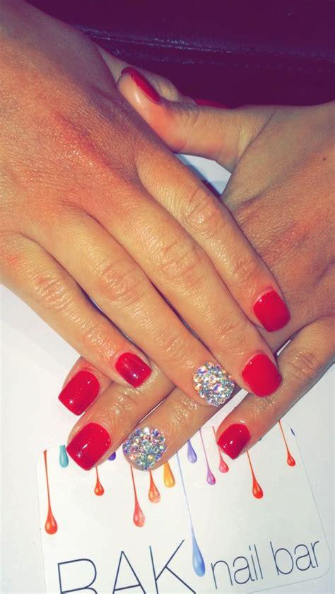 sns dip  red gel manicure swavorski crystals nail