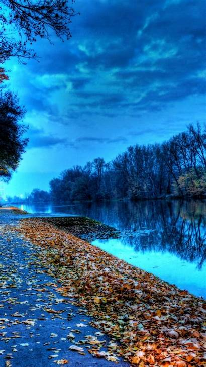 Iphone Leaves Lake Autumn Wallpapers Nature Trees