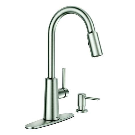 moen kitchen faucet with soap dispenser moen nori stainless steel one handle pull spot resist