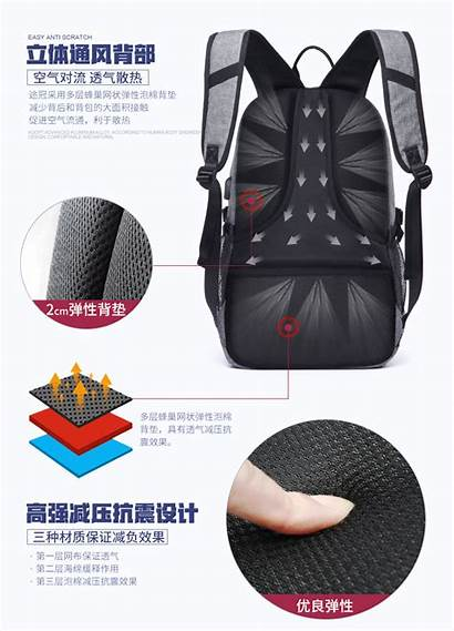 Basketball Shoulders Multifunction Charging Backpack Usb Laptop