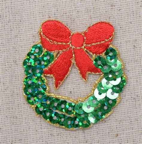 patch applique sequin wreath iron on applique embroidered
