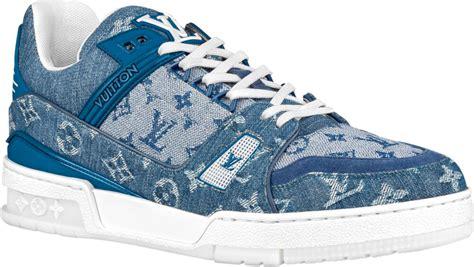 louis vuitton blue denim lv trainer sneakers