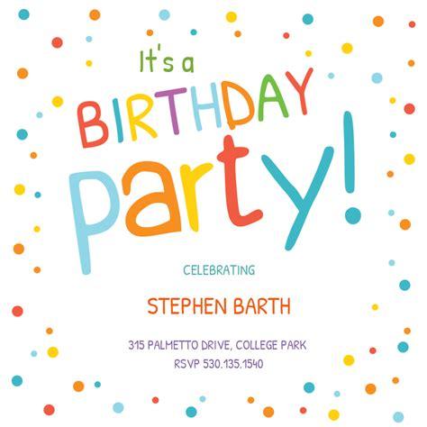 confetti dots border birthday invitation template