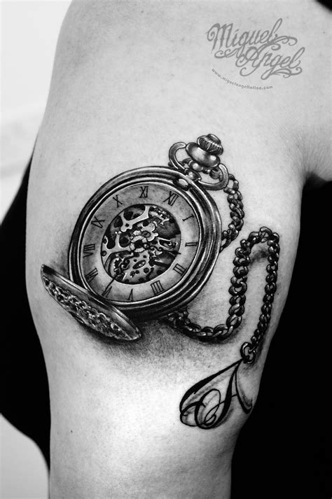 Pocket-watch and letter A on chain tattoo | Chain tattoo, B tattoo, Meaningful tattoos for girls