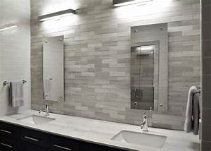 Modern, White, Bathroom, With, Sleek, Gray, Tile, Backsplash