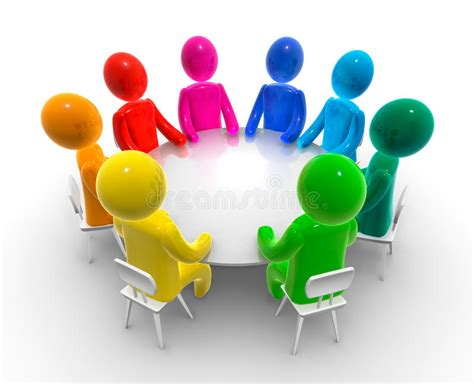 Discussion Round Table Stock Illustration. Illustration Of
