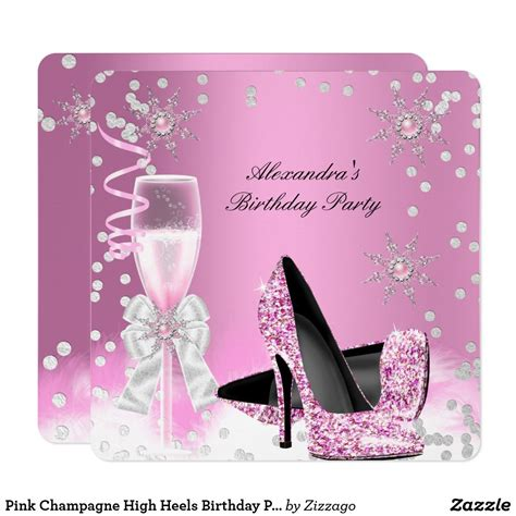 pink champagne high heels birthday party  invitation