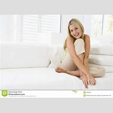 Woman Sitting In Living Room Royalty Free Stock Photo