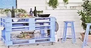 Meuble De Cuisine En Palette : bar de jardin et desserte faire en palette bois deco cool ~ Dode.kayakingforconservation.com Idées de Décoration