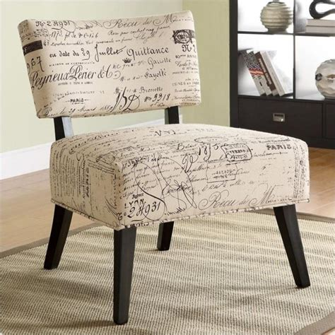 over sized accent chair with french script pattern 902114