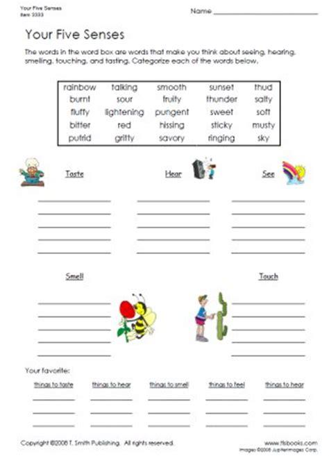 your five senses worksheet a