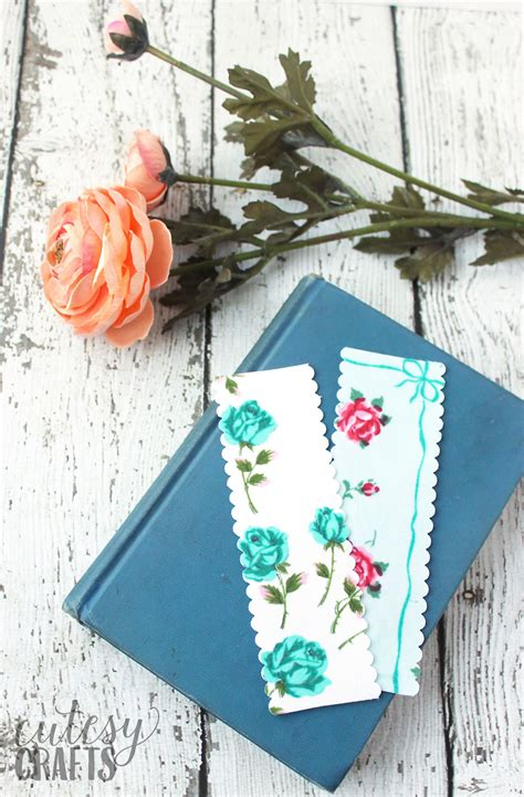 diy handmade bookmarks  vintage linens  polka